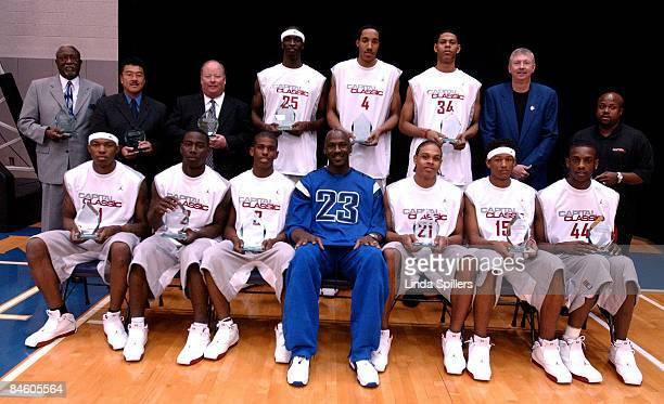The Jordan Classic Silver Team front left to right Dion Harris Taurean Minor Chris Paul Michael Jordan Shannon Brown JR Giddens Ndudi Ebi Back Row...