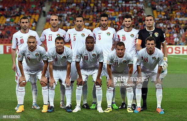 The Jordan football team poses for pictures prior to their Asian Cup Group D match against Iraq at the Suncorp Stadium in Brisbane on January 12 2015...