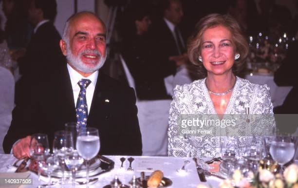 The Jordanian King Hussein and the Spanish Queen Sofia at a gala dinner in the official visit of the Spanish Kings Amman Jordan