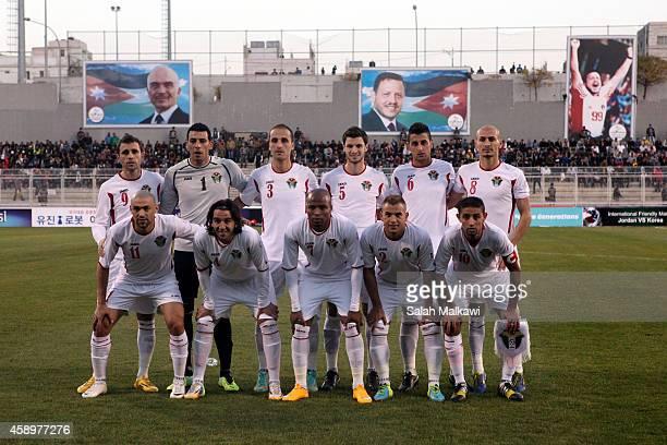 The Jordanian team is seen before the match between Jordan and South Korea at King Abdullah Stadium on November 14 2014 in Amman Jordan