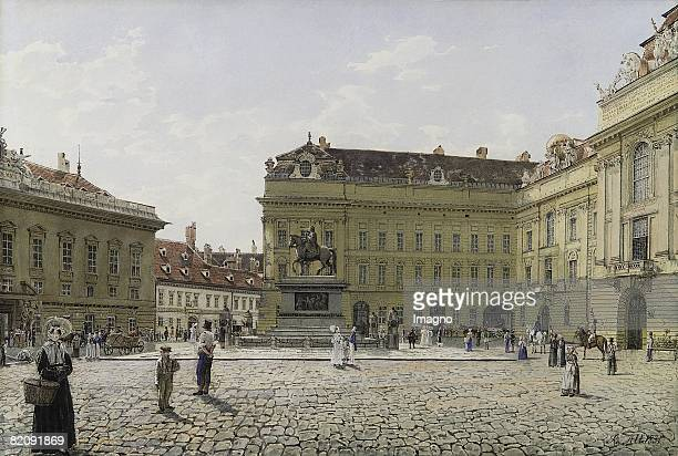 The Josephsplatz in Vienna Watercolour with opaque white Superscribed R Alt 1831 Raiffeisen Central Bank Austria Collection Carl v Roth Vienna Inv...