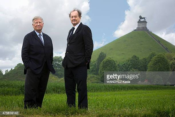 The journalist Alain Duhamel and the writer JeanMarie Rouart pose in Waterloo in Belgium to commemorate the bicentenary of the famous defeat of...