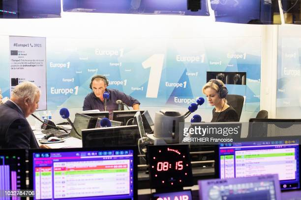 the journalist and tv presenter Audrey CrespoMarat is photographed for Paris Match interviewing G©rard Larcher for the Europe 1 political and in the...