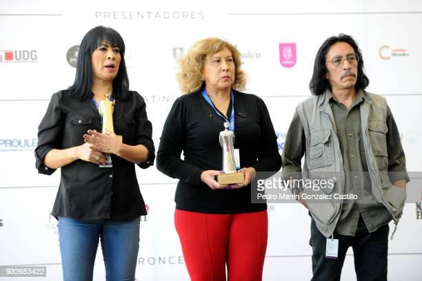 The journalist Columba Vértiz de la Fuente the historian Rosario Vidal Bonifaz and the film critic Luis Tovar pose during the announcement of the...