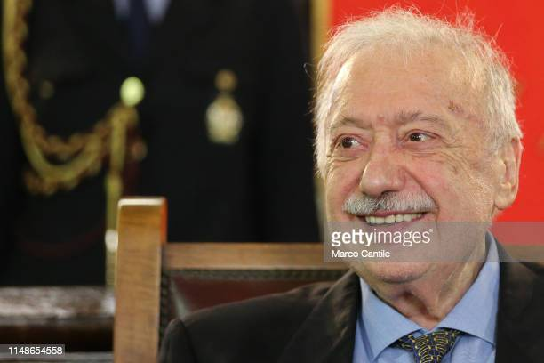 The journalist Gianni Minà during the ceremony for the conferment of honorary citizenship of the city of Naples