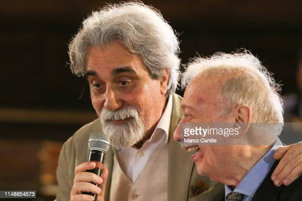 The journalist Gianni Minà with the with the musician and conductor Beppe Vessicchio during the ceremony for the conferment of honorary citizenship...