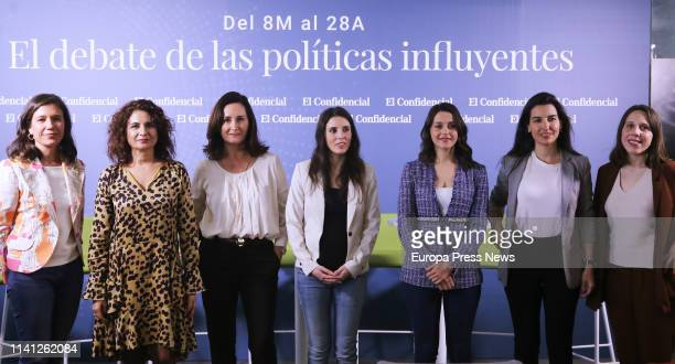The journalist Isabel Morillo the minister of Finance and lead candidate of PSOE from Sevilla María Jesús Montero the candidate of the PP to the...