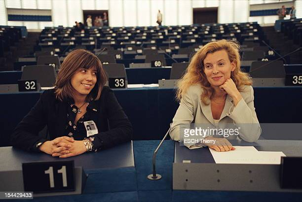 The journalist of Paris Match Valerie Trierweiler with her colleague Constance Vergara at the European Parliament for the election of President...