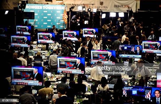 HEMPSTEAD NY The journalist ready in the Spin Room before Democratic Nominee for President of the United States former Secretary of State Hillary...
