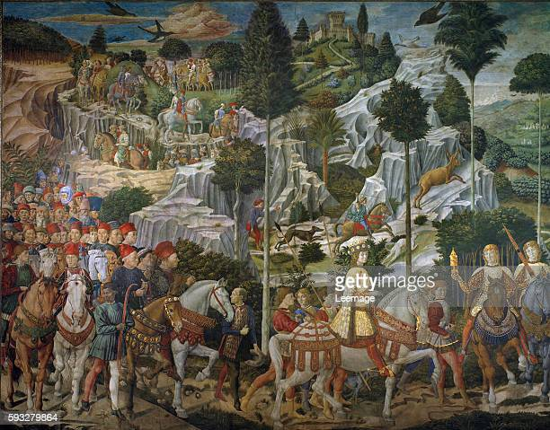 The journey of the Magi Cortege of the magi from Jerusalem to Bethleem Lorenzo de' Medici the Magnificent as one of the Three Kings Fresco of the...