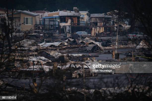The Journey's End mobile home park is seen at sunset on Oct 13 2017 in Santa Rosa California Thirty five people have died in wildfires that have...