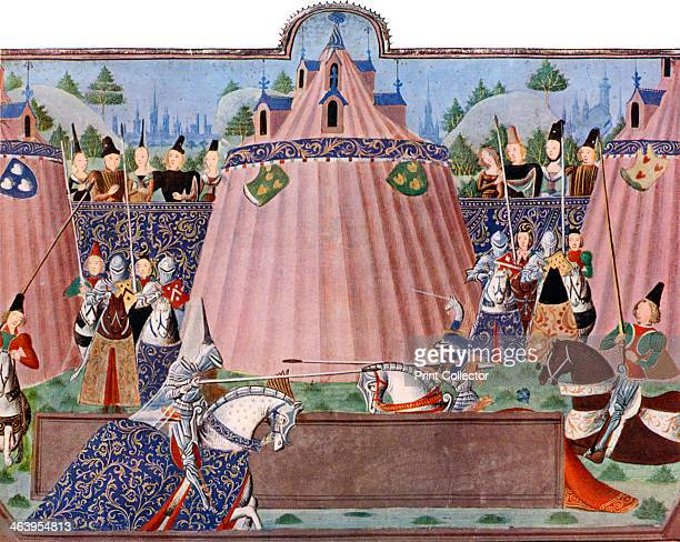 The Jousts of St Inglevere' Jousting scene with ornate tents knights in armour with lances parade across the field while the audience looks on A...