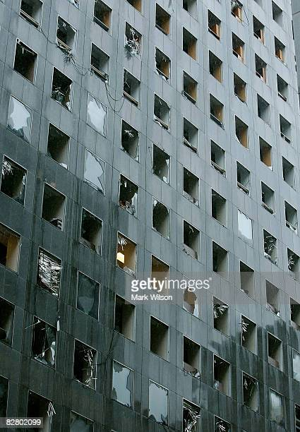 The JP Morgan Chase Tower stands with windows blown out from Hurricane Ike which passed through the city September 13 2008 in Houston Texas Hurricane...
