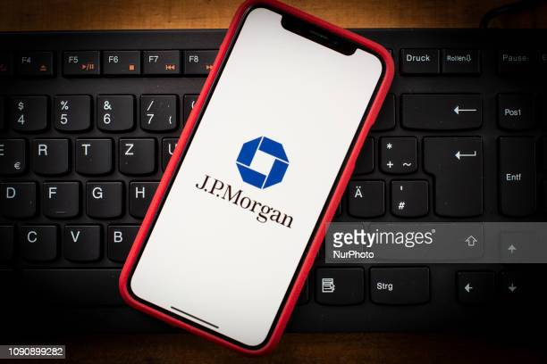 The JP Morgan logo is seen on a mobile phone in this photo illustration on January 29, 2019. JP Morgan is one of the top 10 most admired companies in...