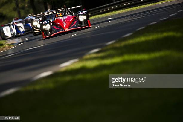 The JRM HPD ARX 03a Honda driven by David Brabham of England Karun Chandhok of India and Peter Dumbreck of Scotland during the Le Mans 24 Hour race...