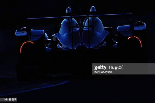 The JRM Racing HPD ARX 03a Honda of David Brabham Karun Chandhok and Peter Drumbreck drives during the Le Mans 24 Hour race at the Circuit de la...