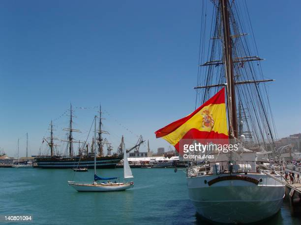The Juan Sebastian de Elcano the training ship for the Royal Spanish Navy and other tall ships in the port of Cadiz during the 50th Tall Ships Race...