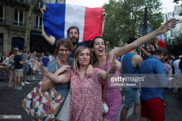 the jubilation of supporters after the victory of the French team in the final of the World Cup football in Russia against Croatia 4 to 2 in...