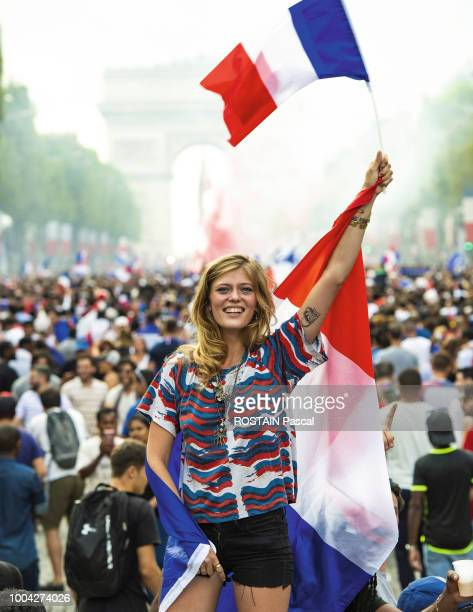 the jubilation of the fans after the victory of the French team in the final of the football world cup in Russia against Croatia 4 to 2 on the...