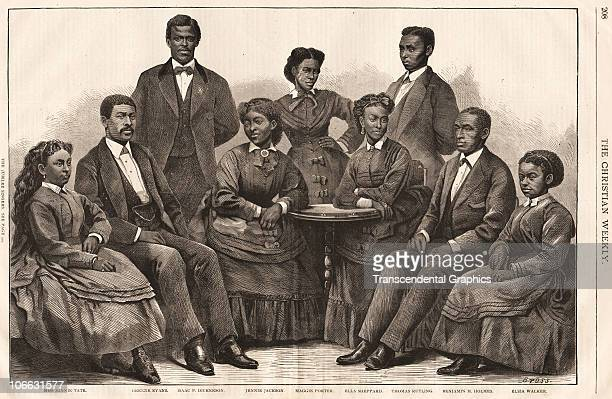 The Jubilee Singers, a touring group of African Americans, pose together in this woodcut from the newspaper The Cristian Weekly, New York, 1872.