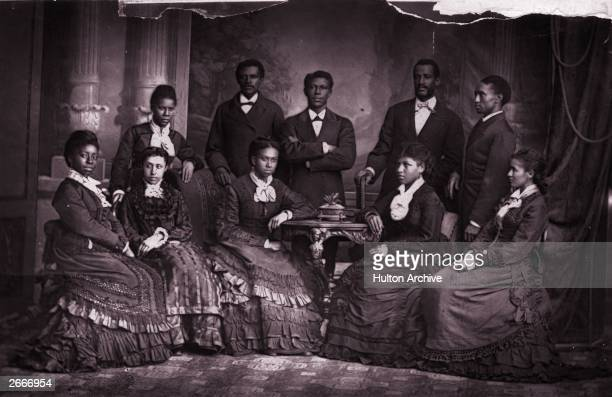 The Jubilee Singers of Fisk University, USA on a visit to England where they where invited to give a concert before Queen Victoria. Front row from l...