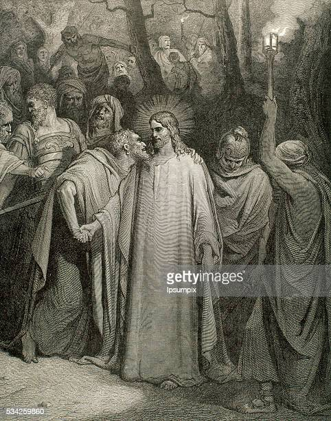 The Judas kiss Gospel of John Drawing by Gustave Doré and engraving by Pannemaker
