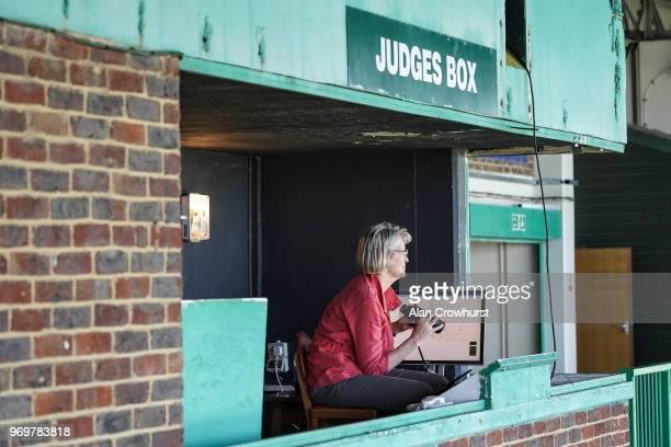 The judge Jane Green in position at Brighton Racecourse on June 8 2018 in Brighton United Kingdom