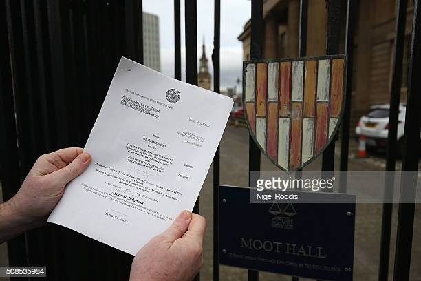 The judgement statement photographed outside Newcastle Crown Court after the family of PC David Rathband lost the civil court case they brought...