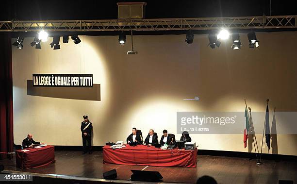 The judges and Italian Coastguard Captain Gregorio De Falco during the hearing in the trial of the Costa Concordia on December 9 2013 in Grosseto...