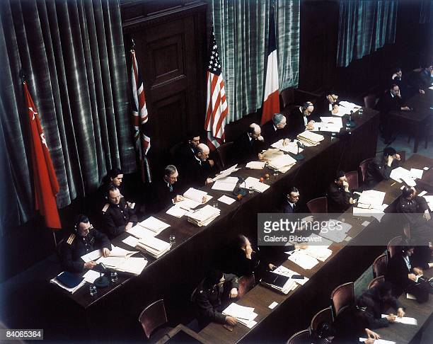 The judges at their bench in Room 600 at the Palace of Justice Nuremberg during proceedings against leading Nazi figures for war crimes at the...