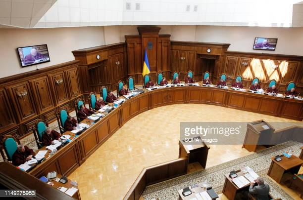 The judges attend a session of the Constitutional Court review in Kiev The Ukrainian President Volodymyr Zelensky visited a session of the...