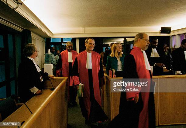 The judges enter the courtroom to begin judicial proceedings for military personnel In the center is ICTR President Erik Mose from Norway accompanied...