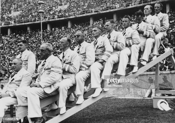 The judges for the 100 Metres event on the first day of the 1936 Berlin Olympics 2nd August 1936 The final was won the following day by American...