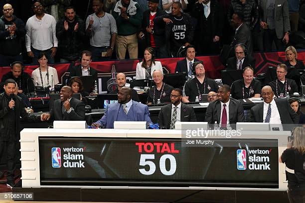 The judges for the slam dunk during the Verizon Slam Dunk Contest as part of NBA AllStar 2016 on February 13 2016 at Air Canada Centre in Toronto...