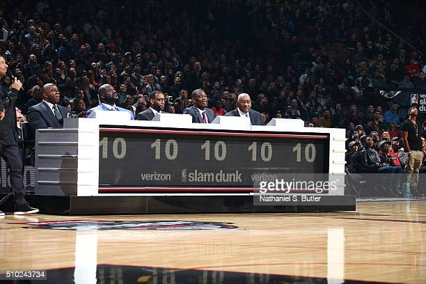 The judges from the Verizon Slam Dunk Contest during State Farm AllStar Saturday Night as part of the 2016 NBA AllStar Weekend on February 13 2016 at...