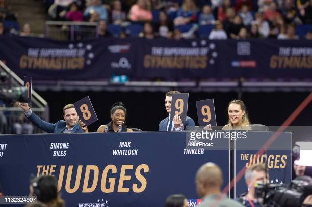 The judges judge Dom Cunningham during the Superstars of Gymnastics Event at the O2 Arena Greenwich on Saturday 23rd March 2019
