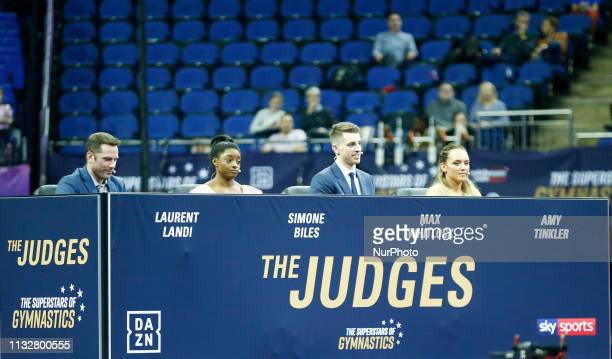 LR The Judges Laurent Landi Simone Biles Max Whitlock and Amy Tinkler during The Superstars of Gymnastics at 02 Arena London England on 23 Mar 2019