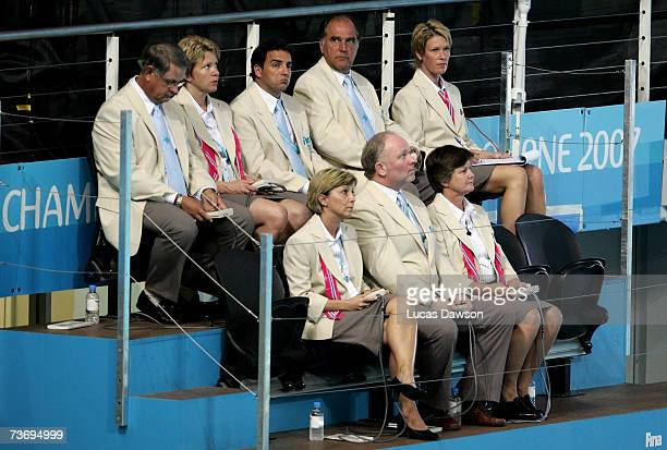The judges look on during the Men's 10m Platform Final during the XII FINA World Championships at the Melbourne Sports and Aquatic Centre on March 25...