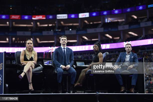 The Judges lr Amy Tinkler Max Whitlock MBE Simone Biles and Laurent Landi watch the gymnasts perform on the balance beam during the Superstars of...