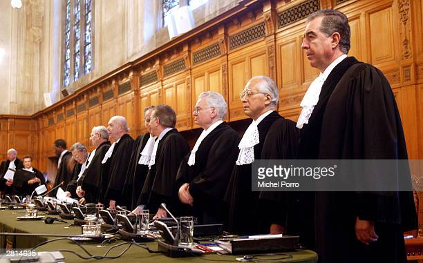 The judges of the International Court of Justice arrive December 16, 2003 in The Hague, Netherlands. A dispute is being dealt with between Mexico and...