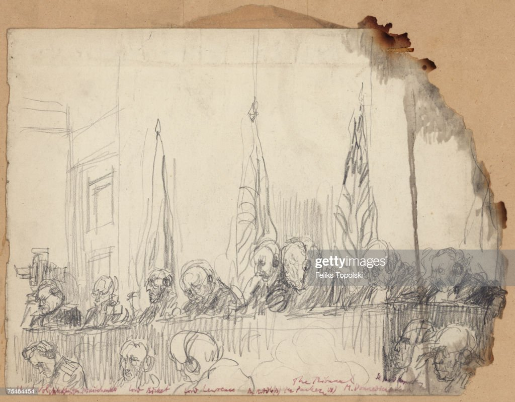 The judges presiding over the Nuremberg trials which followed World War II, circa 1946. From left to right, Lieutenant Colonel Alexander Fedorovich Volchkov and Major-General Iona Timofeevich Nikitchenko of the Soviet Union, Sir Norman Birkett and Sir Geoffrey Lawrence of the UK, Francis Biddle and John J. Parker of the US, Professor Henri Donnedieu de Vabres of France and prosecutor's assistant Sir David Maxwell Fyfe.