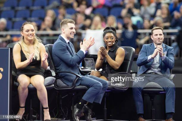 The judges respond to Danusia Francis on the beam during the Superstars of Gymnastics Event at the O2 Arena Greenwich on Saturday 23rd March 2019