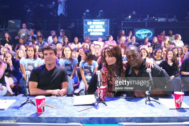 The Judges Simon Cowell Paula Abdul and Randy Jackson at FOX TV's 'American Idol' broadcast live from Television City in Los Angeles Ca Tuesday July...