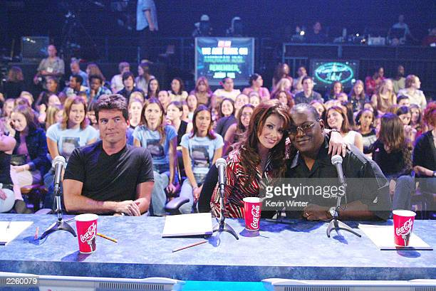 The Judges Simon Cowell Paula Abdul and Randy Jackson at FOX TV's American Idol broadcast live from Television City in Los Angeles Ca Tuesday July 16...