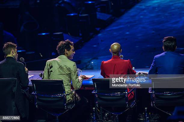The judges sitting from behind during the finale of X Factor at Mediolanum Forum From the left Fedez Mika Skin Elio Assago Italy 10th December 2015