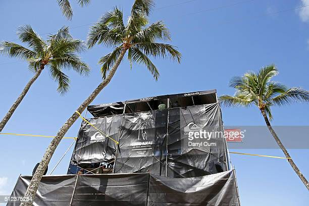 The judges tower at The Quiksilver in Memory of Eddie Aikau at Waimea Bay on February 25 2016 in Waimea Hawaii