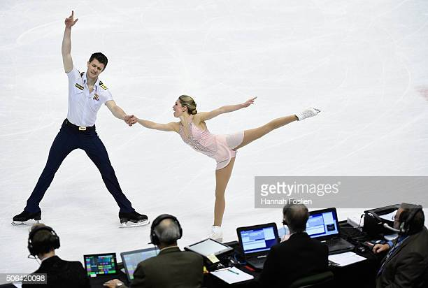 The judges watch as Alexandra Schaughnessy and James Morgan compete in the Pairs' Free Skate at the 2016 Prudential US Figure Skating Championship on...