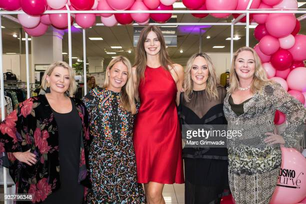 The judging panel Bec Gardiner Clare Hurley Robyn Lawley Keshnee Kemp and Chelsea Bonner at the Cosmo Curve casting with Robyn Lawley on March 16...