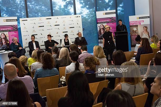 The judging panel including designers Illiza Ho and Jimmy Choo at Fashion Tank - Perth on April 10, 2015 in Perth, Australia. Designer Professor...