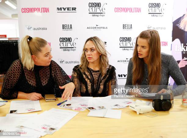 The judging panel Robyn Lawley Keshnee Kemp and Chelsea Bonner at the Cosmo Curve casting on March 17 2018 in Sydney Australia